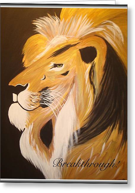 Recently Sold -  - Lions Greeting Cards - Breakthrough  Greeting Card by Eliene  Nunes