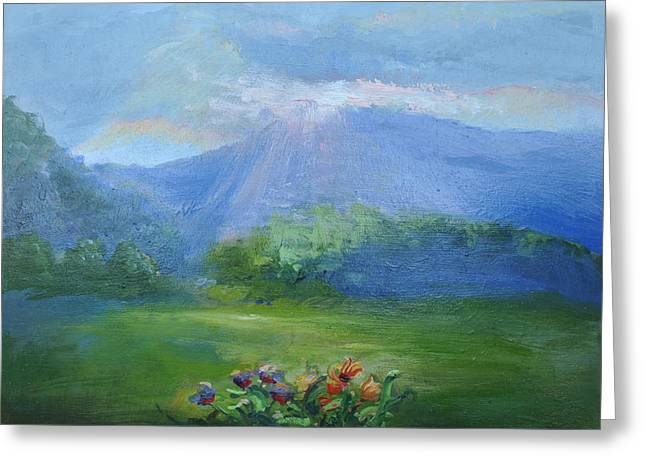 Dream Scape Paintings Greeting Cards - Breakthrough Light Greeting Card by Patricia Kimsey Bollinger