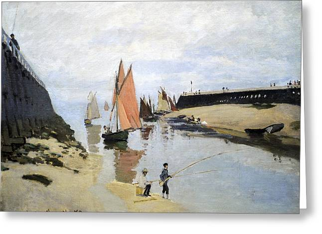 Blue Sailboat Greeting Cards - Breakwater at Trouville Greeting Card by Claude Monet