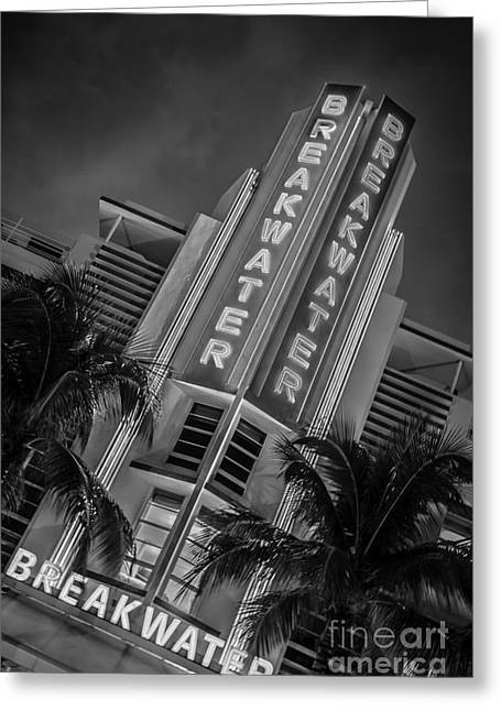 Yugoslavian Greeting Cards - Breakwater Hotel Art Deco District SOBE MiamI - Black and White Greeting Card by Ian Monk
