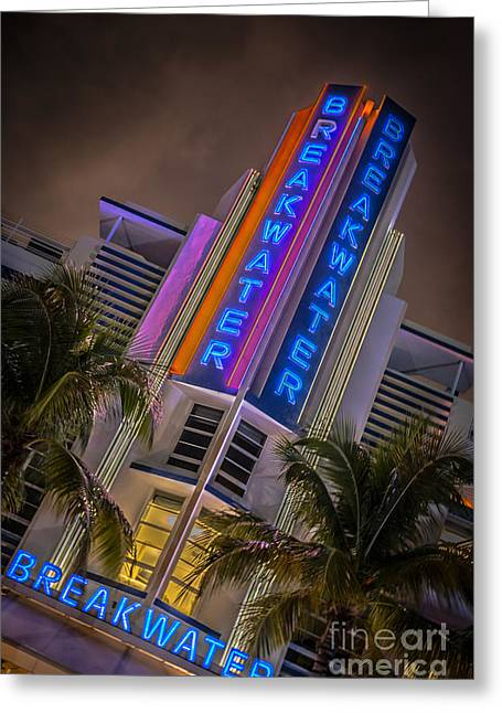 Yugoslavian Greeting Cards - Breakwater Hotel Art Deco District SOBE MiamI - HDR Style Greeting Card by Ian Monk