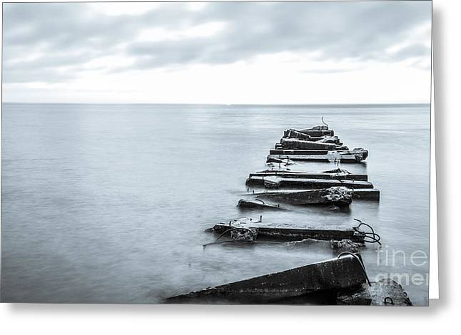 Shorewood Greeting Cards - Breakwater Monochrome Greeting Card by Andrew Slater