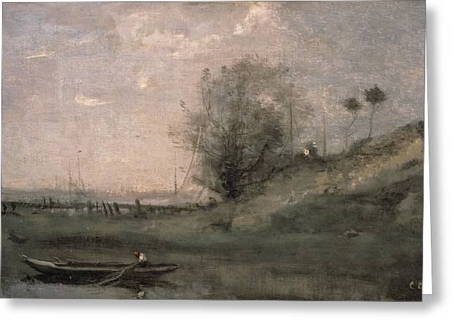 Landing Paintings Greeting Cards - Breakwater, Normandy Greeting Card by Jean Baptiste Camille Corot