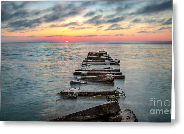 Atwater Greeting Cards - Breakwater Sunrise Greeting Card by Andrew Slater