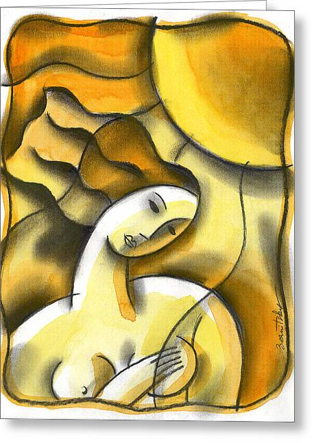Breast Paintings Greeting Cards - Breast exam Greeting Card by Leon Zernitsky