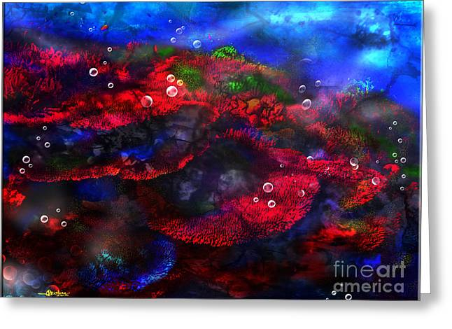 Bathroom Prints Mixed Media Greeting Cards - Breath taking Coral Reef Greeting Card by Christine Mayfield