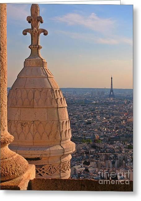 Sunset Posters Greeting Cards - Breath Taking View of the Eiffel Tower at Sunset Greeting Card by John Malone