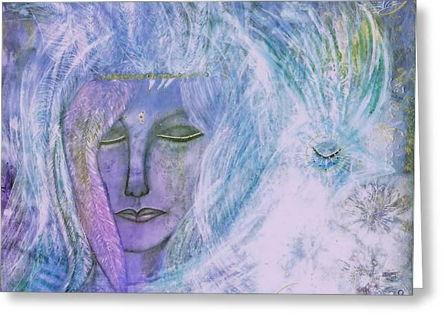 Breathing Mixed Media Greeting Cards - Breathing Through Feathers Greeting Card by Nancy TeWinkel Lauren