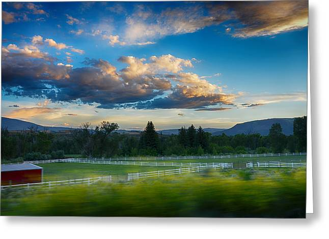 Ranch Mixed Media Greeting Cards - Breathtaking Colorado Sunset 1 Greeting Card by Angelina Vick