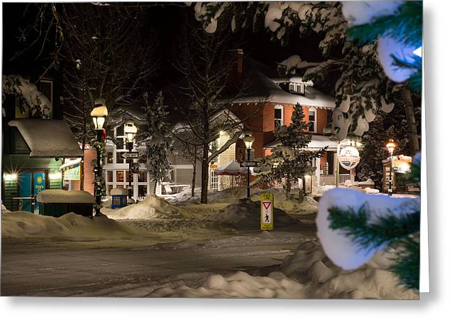 Scenic Greeting Cards - Breck Snowy Night Greeting Card by Michael J Bauer