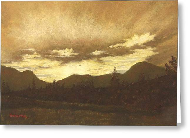 Golden Brown Pastels Greeting Cards - Breckenridge Sunset Greeting Card by Angela Bruskotter
