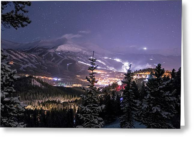 Adventure Greeting Cards - Breckenridge Winter Night Greeting Card by Michael J Bauer