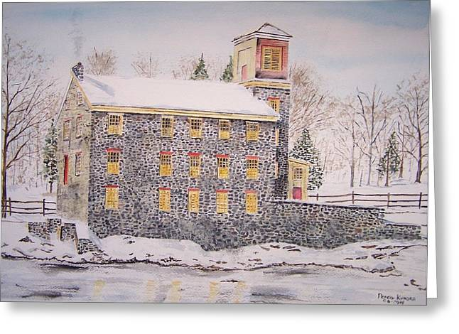 Old Feed Mills Paintings Greeting Cards - Brecks Mill Greeting Card by Peter Kundra