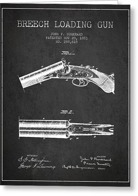 Browning Greeting Cards - Breech Loading Gun Patent Drawing from 1883 - Dark Greeting Card by Aged Pixel