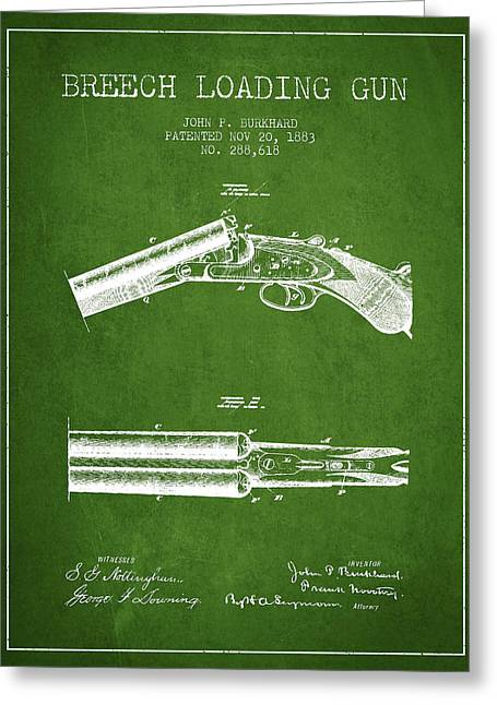 Browning Greeting Cards - Breech Loading Gun Patent Drawing from 1883 - Green Greeting Card by Aged Pixel
