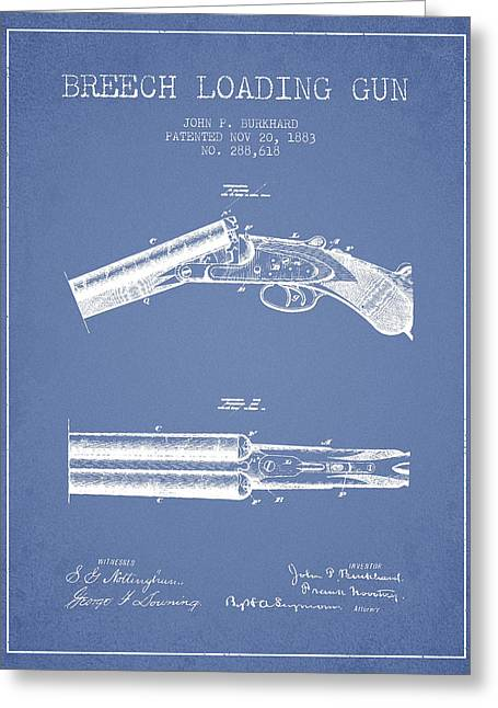 Browning Greeting Cards - Breech Loading Gun Patent Drawing from 1883 - Light Blue Greeting Card by Aged Pixel