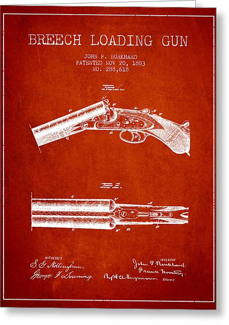 Browning Greeting Cards - Breech Loading Gun Patent Drawing from 1883 - Red Greeting Card by Aged Pixel