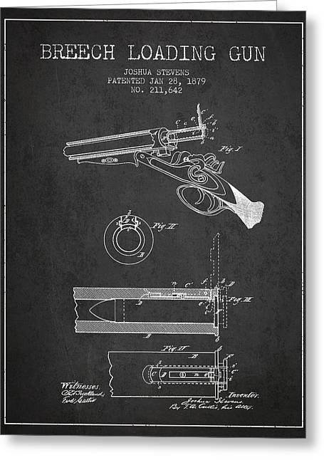 Rifles Greeting Cards - Breech Loading Shotgun Patent Drawing from 1879 - Dark Greeting Card by Aged Pixel