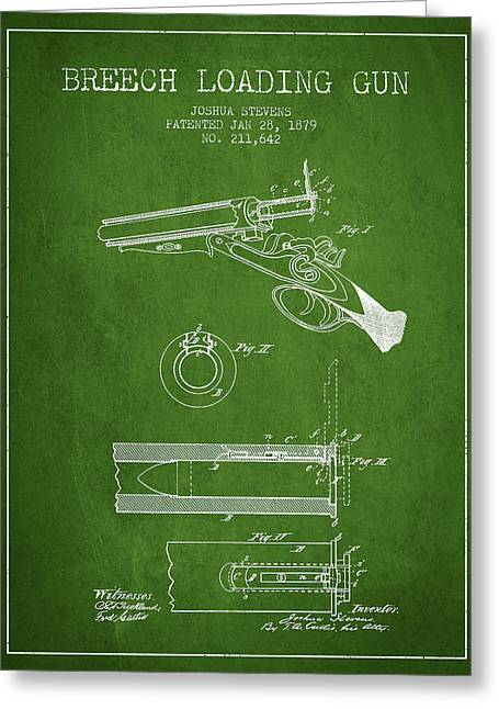 Browning Greeting Cards - Breech Loading Shotgun Patent Drawing from 1879 - Green Greeting Card by Aged Pixel