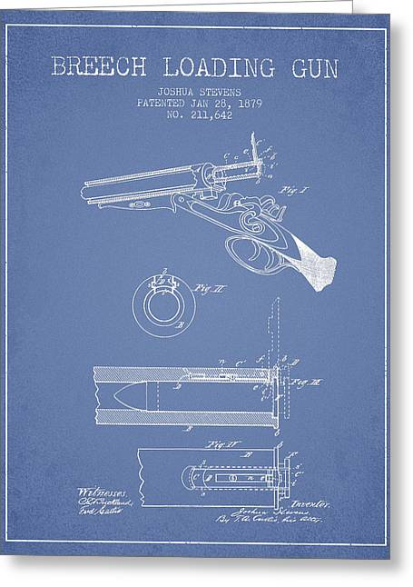 Rifles Greeting Cards - Breech Loading Shotgun Patent Drawing from 1879 - Light Blue Greeting Card by Aged Pixel