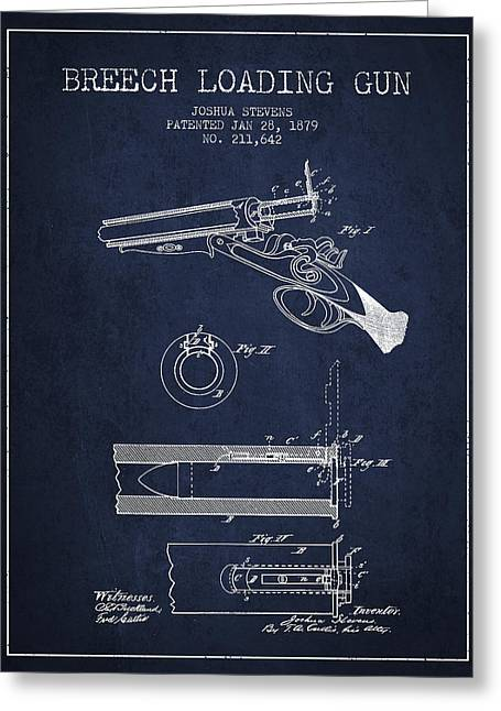Rifles Greeting Cards - Breech Loading Shotgun Patent Drawing from 1879 - Navy Blue Greeting Card by Aged Pixel