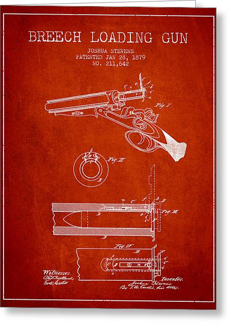 Rifles Greeting Cards - Breech Loading Shotgun Patent Drawing from 1879 - Red Greeting Card by Aged Pixel