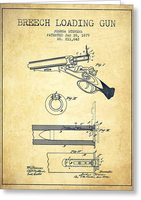 Small Digital Greeting Cards - Breech Loading Shotgun Patent Drawing from 1879 - Vintage Greeting Card by Aged Pixel