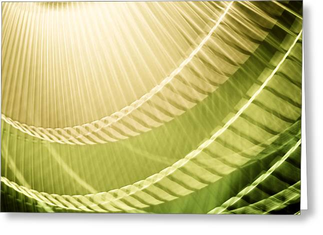 Rotate Greeting Cards - Breeze III  - Lime Green Abstract Greeting Card by Natalie Kinnear