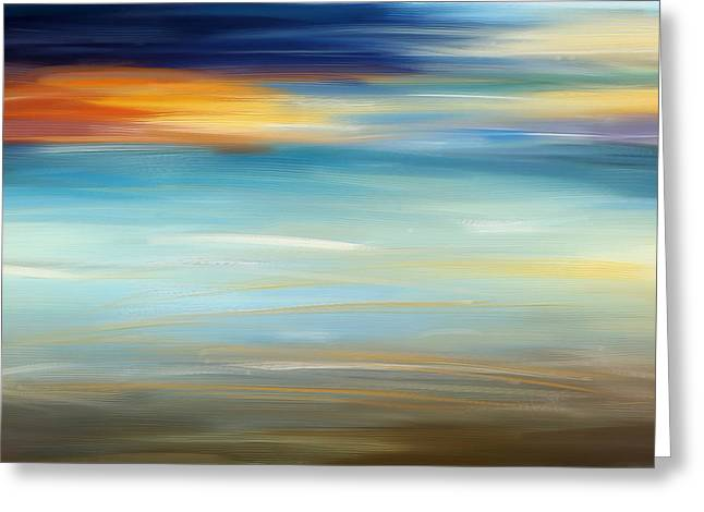 Sand And Sea Greeting Cards - Breeze-Seascapes Abstract Art Greeting Card by Lourry Legarde
