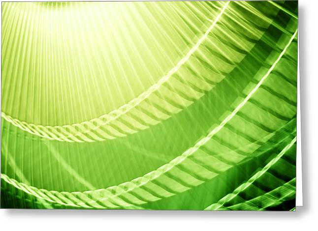 Quirky Greeting Cards - Breeze XIII - Bright Lime Green Abstract Greeting Card by Natalie Kinnear