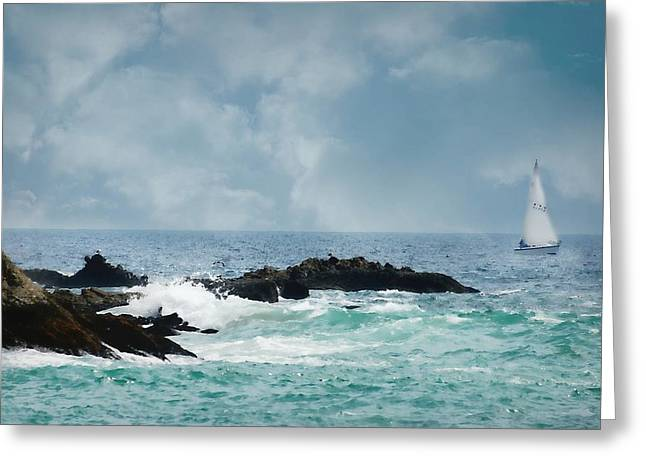 Ocean Sailing Greeting Cards - Breezes Greeting Card by Diana Angstadt