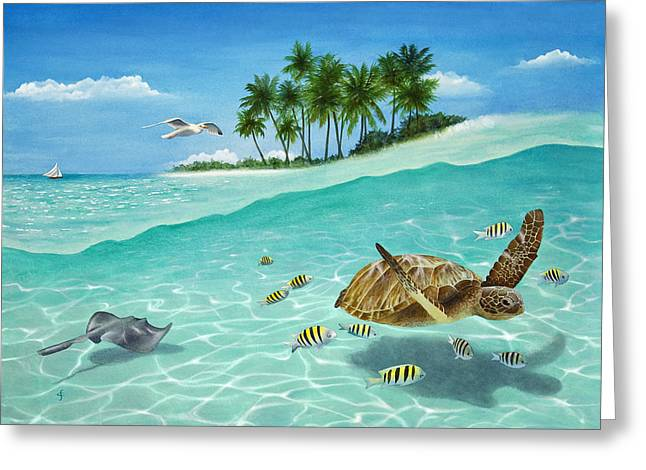 Tortoise Greeting Cards - Breezin Greeting Card by Carolyn Steele