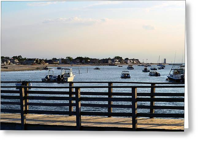 Breezy Greeting Cards - Breezy Bayside Dock Greeting Card by Maureen E Ritter