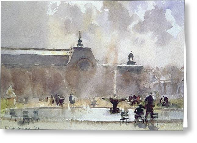 Tuileries Greeting Cards - Breezy Day, Tuilleries Gardens, 1996 Wc On Paper Greeting Card by Trevor Chamberlain