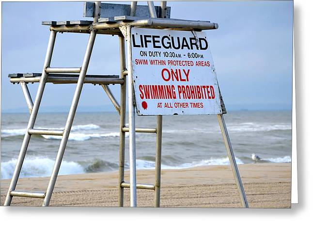 Breezy Lifeguard Chair Greeting Card by Maureen E Ritter