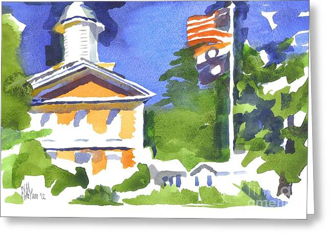 Breezy Paintings Greeting Cards - Breezy Morning at the Courthouse Greeting Card by Kip DeVore