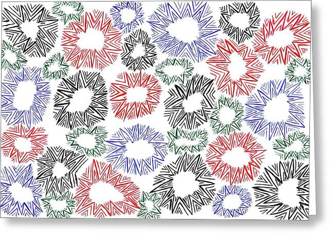 Geometric Image Drawings Greeting Cards - Breezy No 87 Greeting Card by J A   Art Gallery
