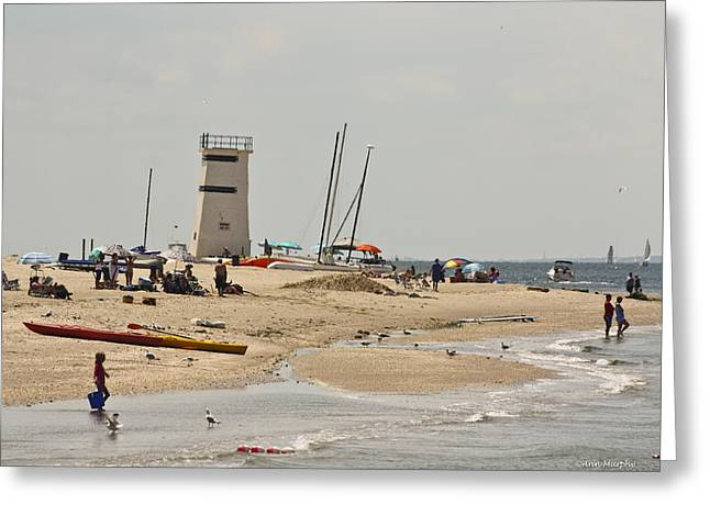 Breezy Greeting Cards - Breezy Point Lighthouse Bayside Greeting Card by Ann  Murphy