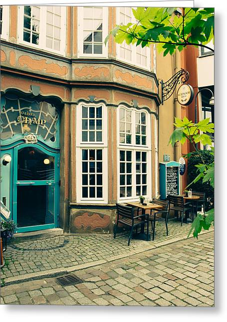 Bremen Schnoor Cafe Greeting Card by Pati Photography