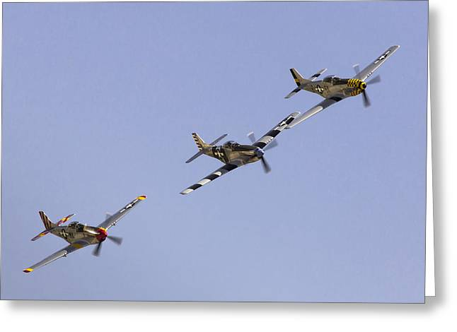 Planes Of Fame Greeting Cards - Bremont P-51 Formation Greeting Card by John Daly