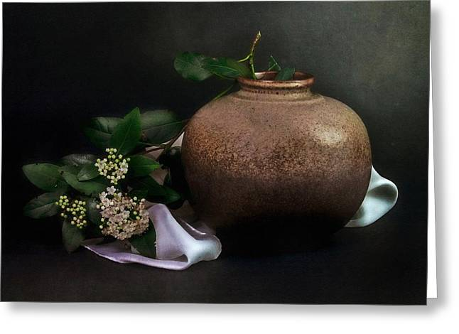 White Cloth Greeting Cards - Branch with ceramic pot Greeting Card by Hugo Bussen