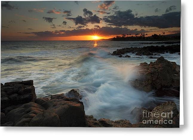 Poipu Greeting Cards - Brennecke Wave Breaking Greeting Card by Mike Dawson
