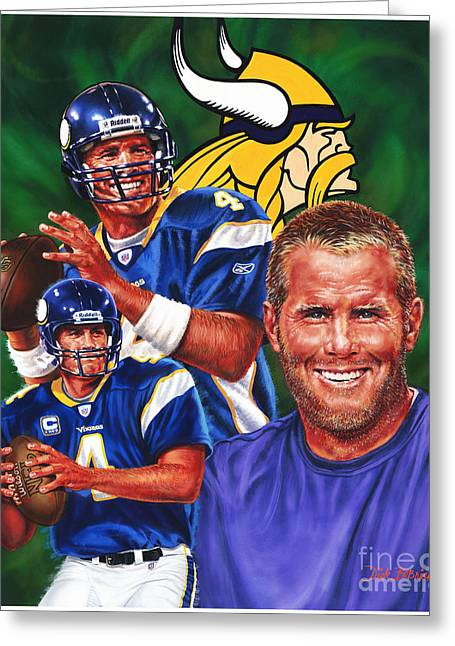Vikings Paintings Greeting Cards - Bret Favre Greeting Card by Dick Bobnick