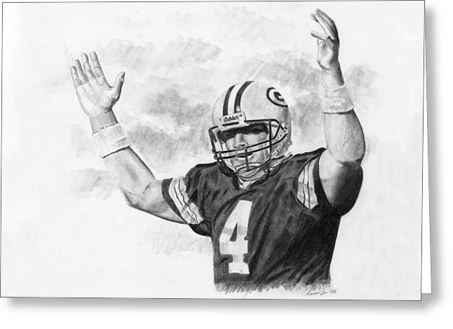 Bret Favre Greeting Card by Timothy Ramos