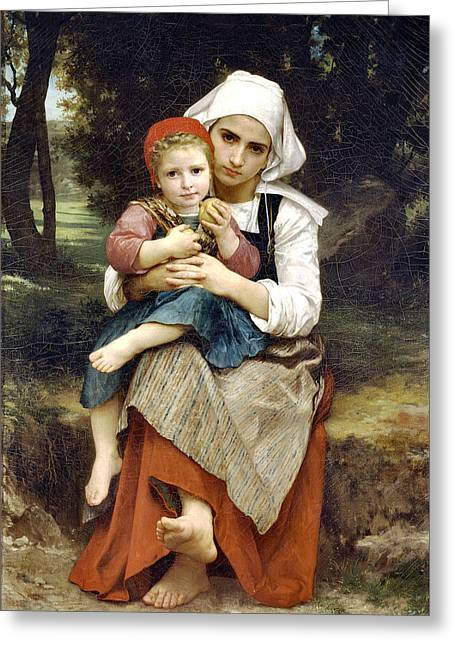 Vintage Painter Greeting Cards - Breton Brother And Sister Greeting Card by William Adlophe Bouguereau
