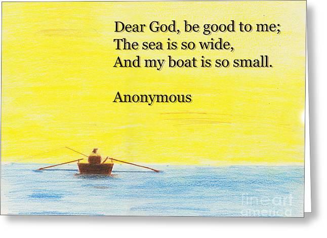 Landscape Posters Pastels Greeting Cards - Breton Fishermans Prayer Greeting Card by David Jackson