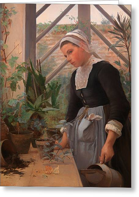 Apron Greeting Cards - Breton Girl Looking After Plants in the Hothouse Greeting Card by Anna Petersen