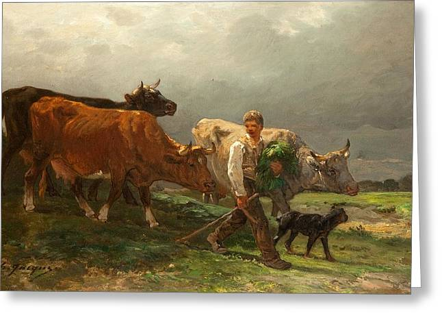 Breton Greeting Cards - Breton Lad With Cattle Greeting Card by Julius Caesar Ibbetson