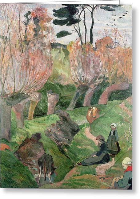 Breton Landscape  Greeting Card by Paul Gauguin