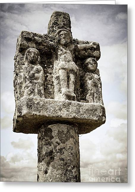 Old Wall Greeting Cards - Breton stone cross Greeting Card by Elena Elisseeva